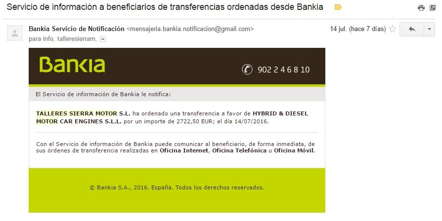 Justificante de Bankia